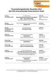 Veranstaltungskalender Dezember 2012 des CDU-Kreisverbandes ...