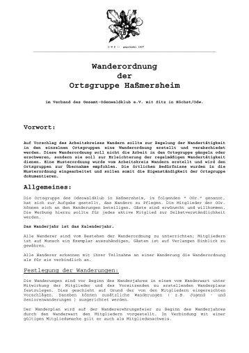 Wanderordnung - Odenwaldklub eV Ortsgruppe Hassmersheim