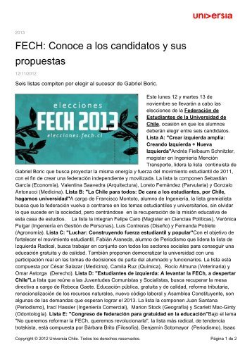 FECH: Conoce a los candidatos y sus propuestas - Noticias ...