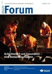 Schichtarbeit und Gesundheit – eine Bestandsaufnahme - DGUV Forum