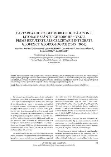 Cartarea hidro-geomorfologiCă a zonei litorale Sfântu ... - GeoEcoMar