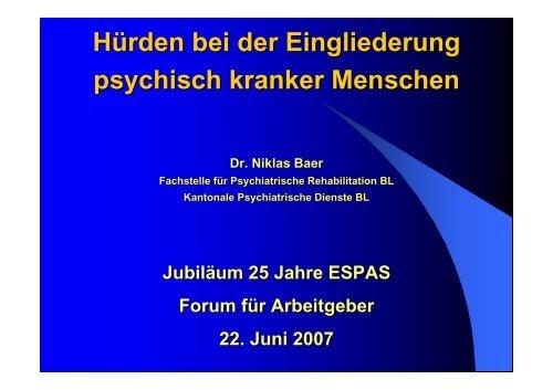 Hürden bei der Eingliederung psychisch kranker Menschen - Espas