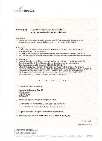 Swissmedic Bewilligung - essencia