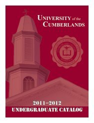 2011-2012 University of the Cumberlands Undergraduate Catalog