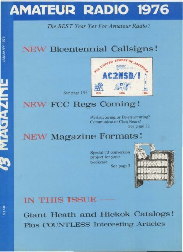 IN THIS ISSUE -- NEW Magazine Formats! NEW FCC Regs Corning ...
