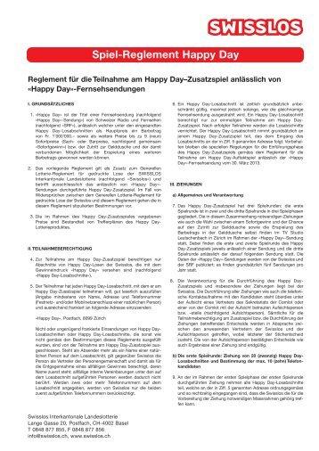 Reglement zum Happy Day - Swisslos