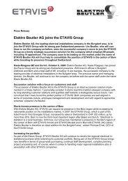 Elektro Beutler AG joins the ETAVIS Group
