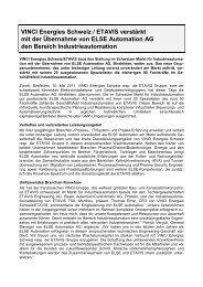 VINCI Energies Schweiz / ETAVIS verstärkt mit der Übernahme von ...