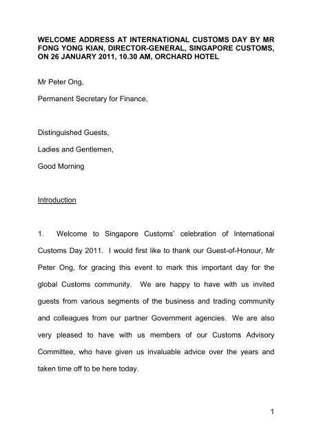 1 welcome address at international customs day by mr fong