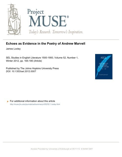 Echoes as Evidence in the Poetry of Andrew Marvell - Edinburgh ...