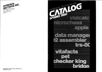 Download Personal Software's directory of Spring 1980
