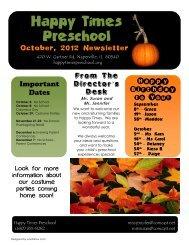 Newsletter - Happy Times Preschool