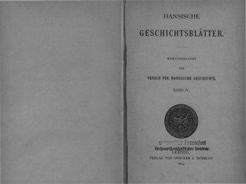 GE SCHI C HTSBLATTE R. - Hansischer Geschichtsverein