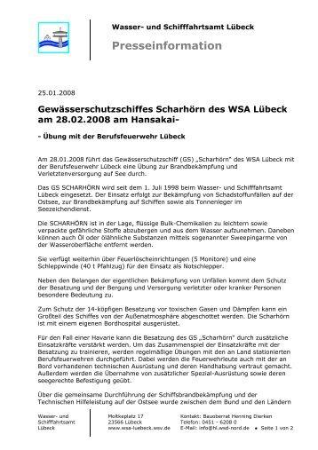 GS Scharhörn führt Übung mit der Berufsfeuerwehr Lübeck