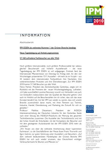 Abschlussbericht IPM ESSEN als weltweite ... - Security Essen