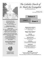 The Catholic Church of St. Mark the Evangelist - E-churchbulletins.com