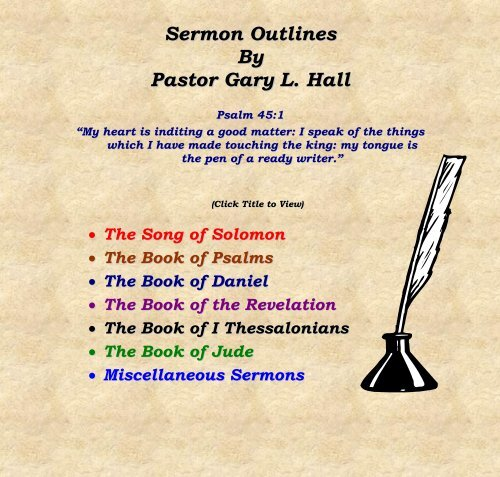 Sermon Outlines By Pastor Gary L  Hall - Island Ford Baptist