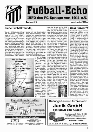Janik GmbH - FC Springe von 1911