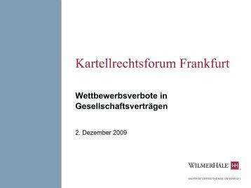 1 GWB und ist nichtig - KartellrechtsForum Frankfurt