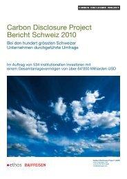 CDP-Bericht Schweiz 2010 - Carbon Disclosure Project