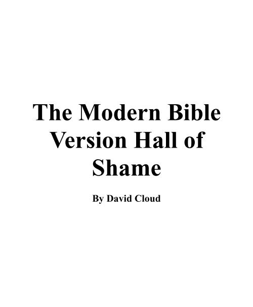 Modern Bible Version Hall of Shame 2 - Holy Bible Institute