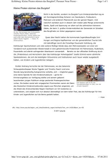 Kleine Piraten stürmen das Burgdorf Page 1 of 1 Kollnburg: Kleine ...