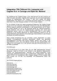 Integration TSA Télécom SA Lausanne und Cegelec SA in ... - Etavis