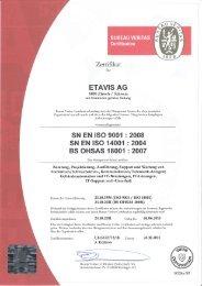 Zertifikat ETAVIS AG BVC