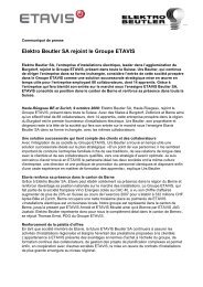 Elektro Beutler SA rejoint le Groupe ETAVIS