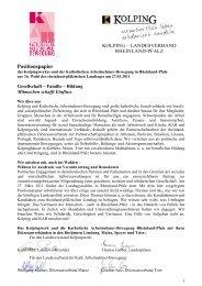Aussagen des Kolpingwerkes in Rheinland-Pfalz zur 16 - KAB Mainz