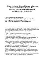 Hans-Joachim Wahl feiert silbernes Priesterjubiläum! - Kolping ...