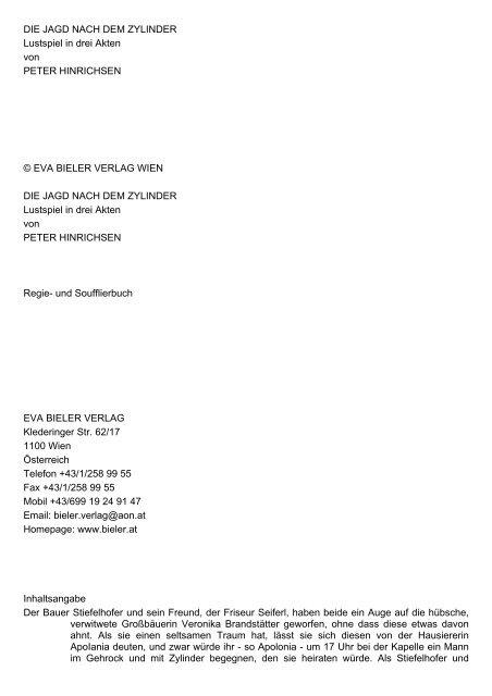DIE JAGD NACH DEM ZYLINDER Lustspiel in drei Akten von ...