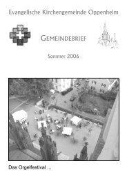 Gemeindebrief Sommer 2006 - Evangelische Kirchengemeinde ...