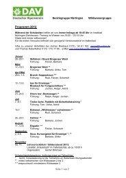 Gruppen-Programm 2012 - DAV Sektion Schwaben