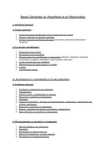 Bases Générales en Anesthésie et en ... - CHU - Montpellier