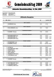 Admonter Gemeindeschitag - 8. Feb. 2009 Offizielle Rangliste