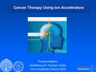 Advances in charged particle therapy - CERN Accelerator School