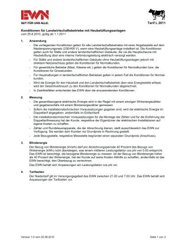 Preisblatt Tarif L 2011 - EWN