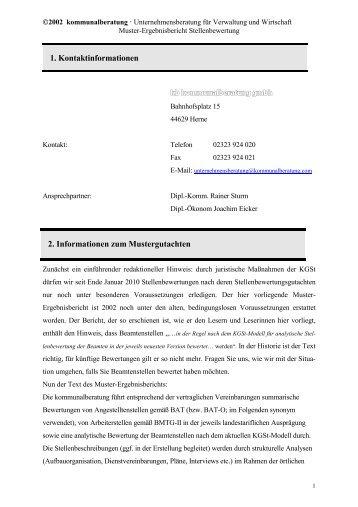 muster ergebnisbericht stellenbewertung kommunalberatung - Stellenbeschreibung Offentlicher Dienst Muster