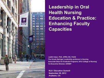 Leadership in Oral Health Nursing Education & Practice: Enhancing ...