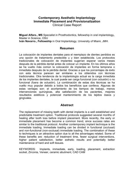 Comtemporary Aesthetic Implantology, Immediate     - Navarro