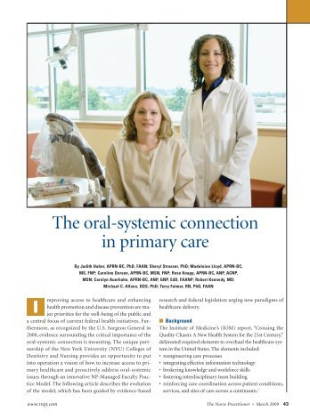 The oral-systemic connection in primary care - Oral Health Nursing ...