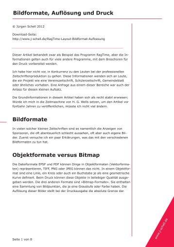 Bildformate, Auflösung und Druck Bildformate ... - Jürgen Schell