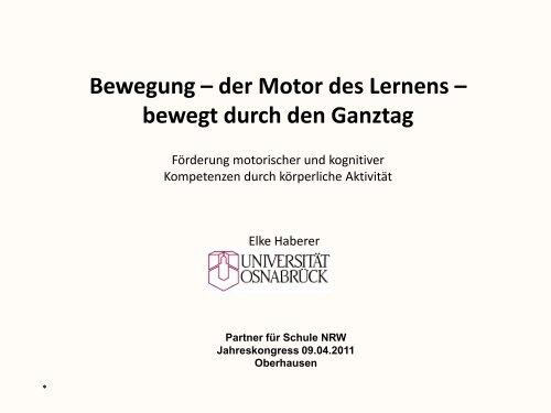 Bewegung – der Motor des Lernens - Stiftung Partner für Schule NRW