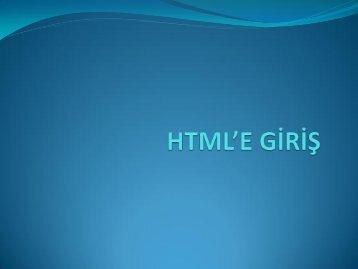 HTML'e Giriş