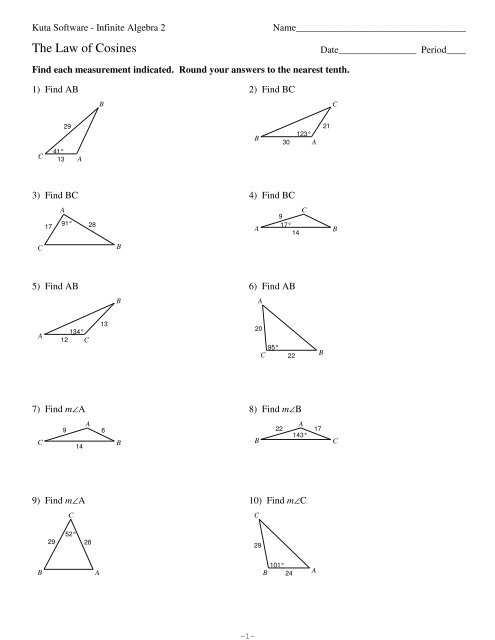 Law Of Sines And Cosines Review Worksheet | Walldecorhouz.me