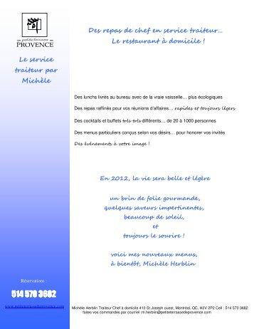 2012-CATALOGUE PETITE TERRASSE DE PROVENCE Menus 2012