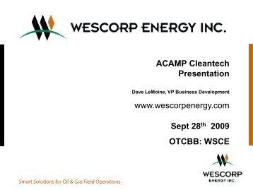 Wescorp Energy Cleantech Presentation - acamp