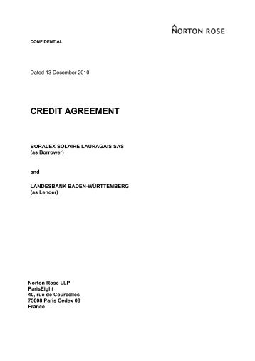 Form Of Agreement For Credit Facilities Extended To Companies With