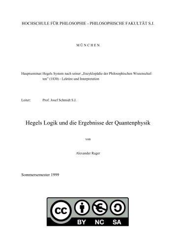 Hegels Logik und die Ergebnisse der Quantenphysik